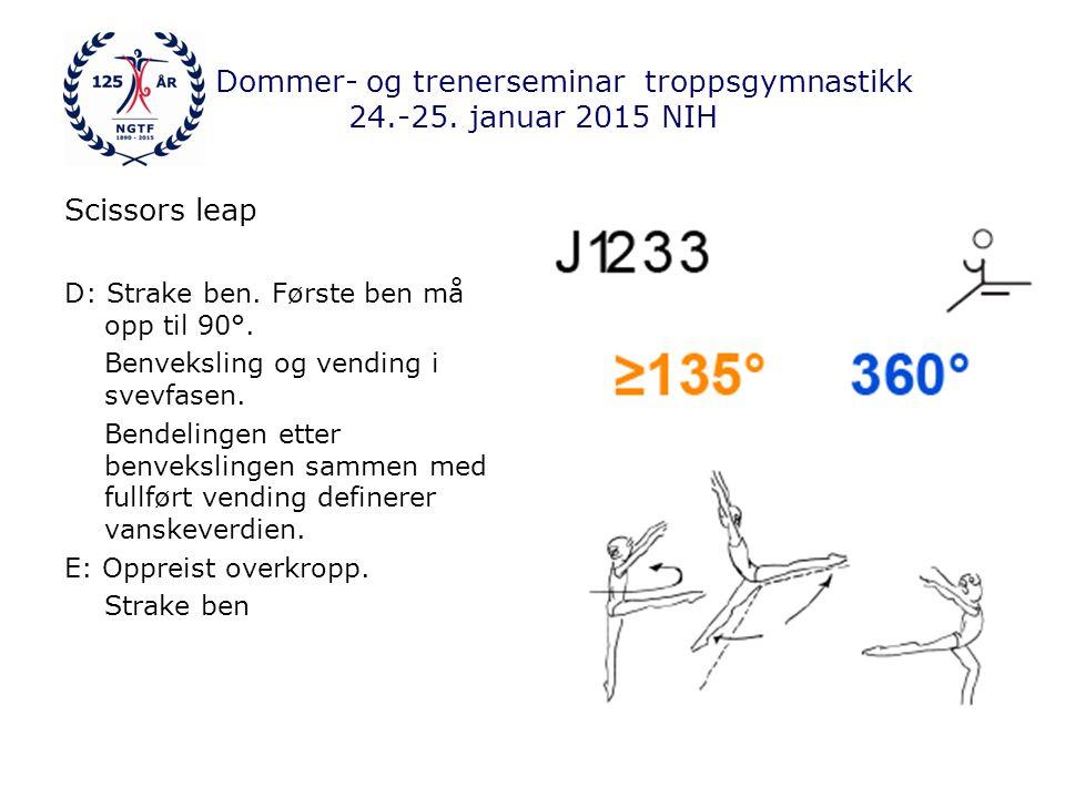 Dommer- og trenerseminar troppsgymnastikk 24.-25. januar 2015 NIH Scissors leap D: Strake ben.