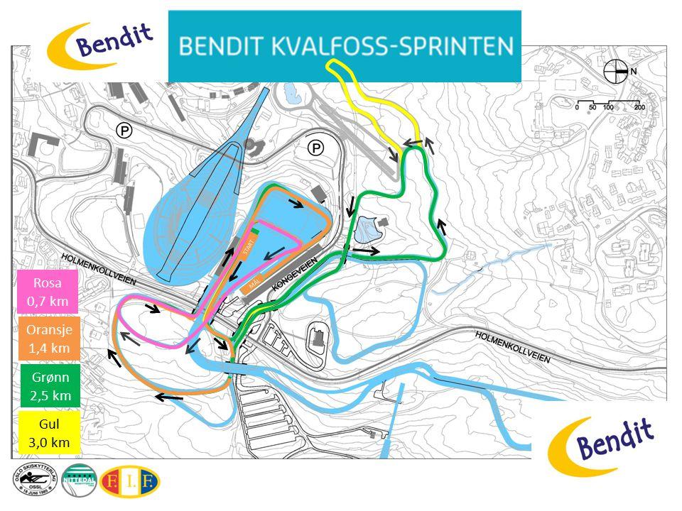 MÅL START Gul 3,0 km MÅL START Grønn 2,5 km START MÅL Oransje 1,4 km Rosa 0,7 km