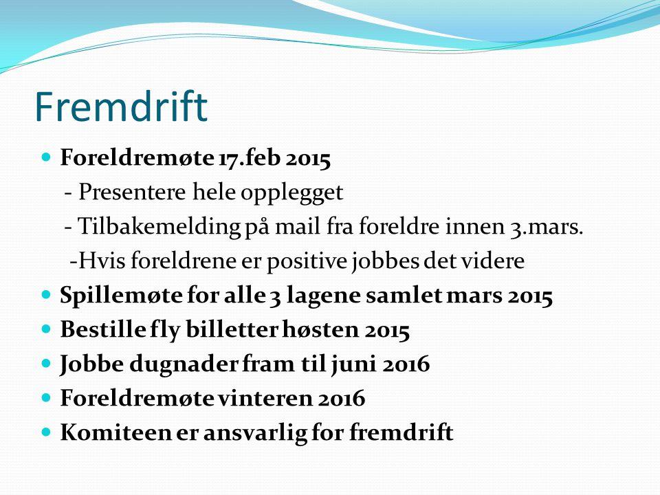 Fremdrift Foreldremøte 17.feb 2015 - Presentere hele opplegget - Tilbakemelding på mail fra foreldre innen 3.mars. -Hvis foreldrene er positive jobbes