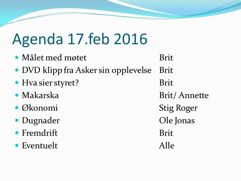 Agenda 17.feb 2016 Målet med møtetBrit DVD klipp fra Asker sin opplevelse Brit Hva sier styret?Brit MakarskaBrit/ Annette ØkonomiStig Roger DugnaderOl