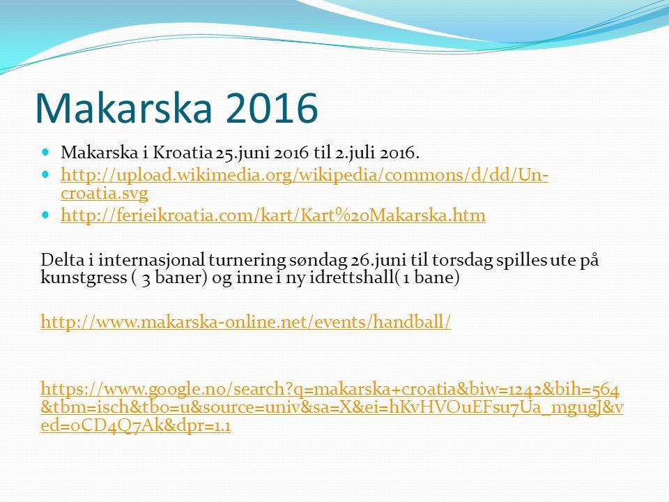 Foreløpig opplegg Makaska 2016 Avreise fra Gardermoen lørdag 25.juni 2016 og fly hjem lørdag 2.juli 2016.