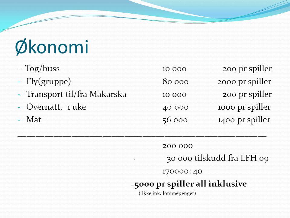 Økonomi - Tog/buss 10 000 200 pr spiller - Fly(gruppe) 80 000 2000 pr spiller - Transport til/fra Makarska10 000 200 pr spiller - Overnatt. 1 uke 40 0