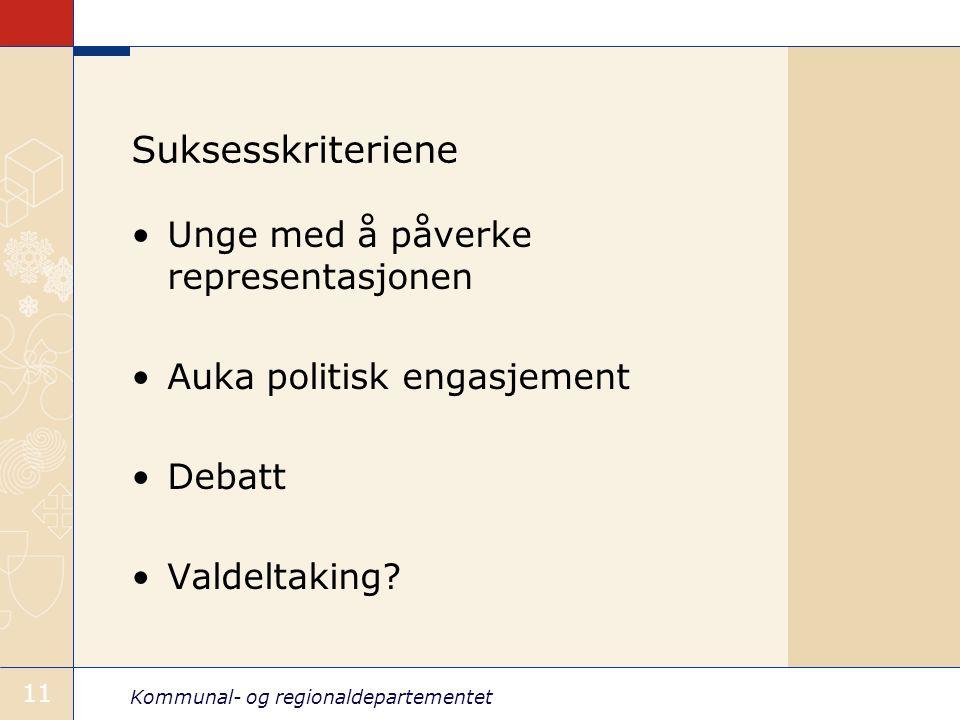 Kommunal- og regionaldepartementet 11 Suksesskriteriene Unge med å påverke representasjonen Auka politisk engasjement Debatt Valdeltaking