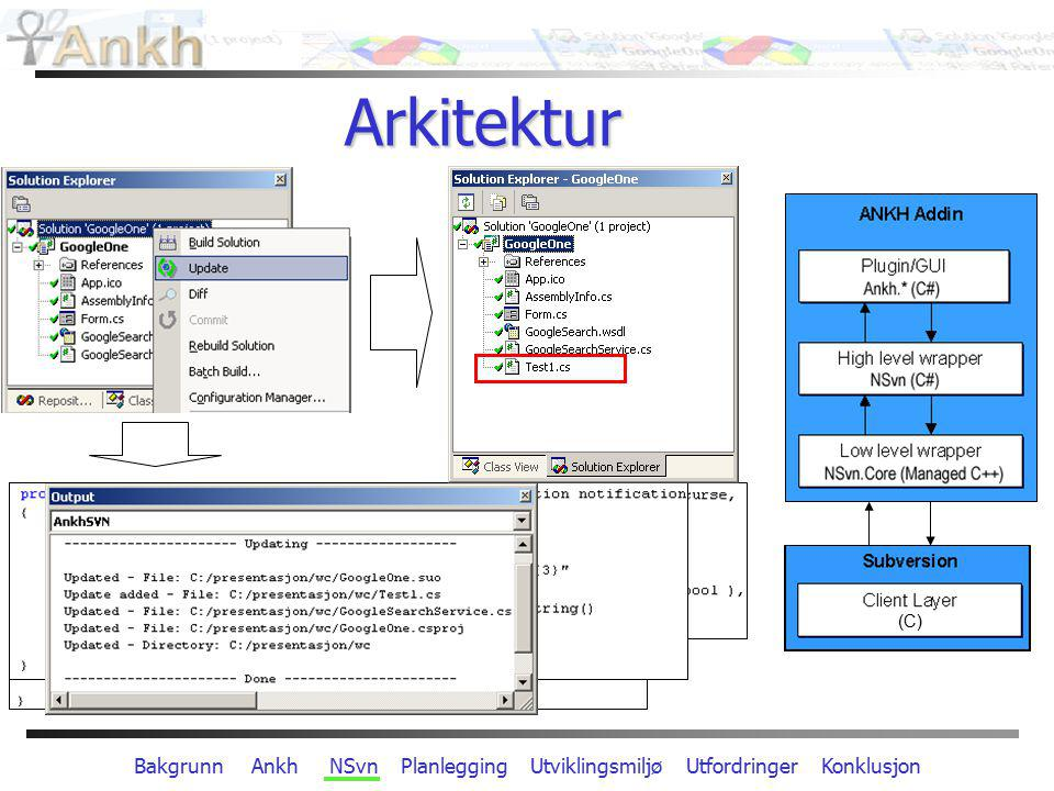 Bakgrunn Ankh NSvn Planlegging Utviklingsmiljø Utfordringer Konklusjon Arkitektur (C)