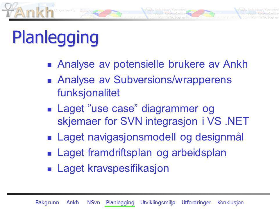 Bakgrunn Ankh NSvn Planlegging Utviklingsmiljø Utfordringer Konklusjon Planlegging Analyse av potensielle brukere av Ankh Analyse av Subversions/wrapp