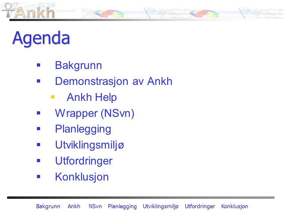 Bakgrunn Ankh NSvn Planlegging Utviklingsmiljø Utfordringer Konklusjon Agenda  Bakgrunn  Demonstrasjon av Ankh  Ankh Help  Wrapper (NSvn)  Planle