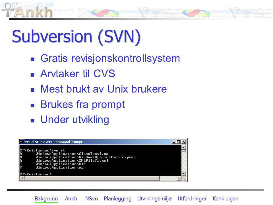 Bakgrunn Ankh NSvn Planlegging Utviklingsmiljø Utfordringer Konklusjon Utfordringer Barnesykdommer i verktøy under utvikling Fortløpende nye versjoner av Subversion VS.NET integrasjon: dårlig dokumentert få relevante eksempler