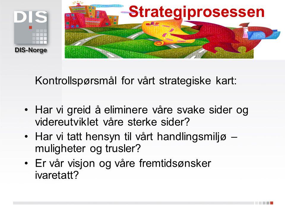 Kontrollspørsmål for vårt strategiske kart: Har vi greid å eliminere våre svake sider og videreutviklet våre sterke sider? Har vi tatt hensyn til vårt