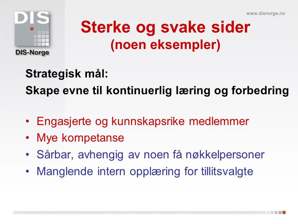 Sterke og svake sider (noen eksempler) Strategisk mål: Skape evne til kontinuerlig læring og forbedring Engasjerte og kunnskapsrike medlemmer Mye komp