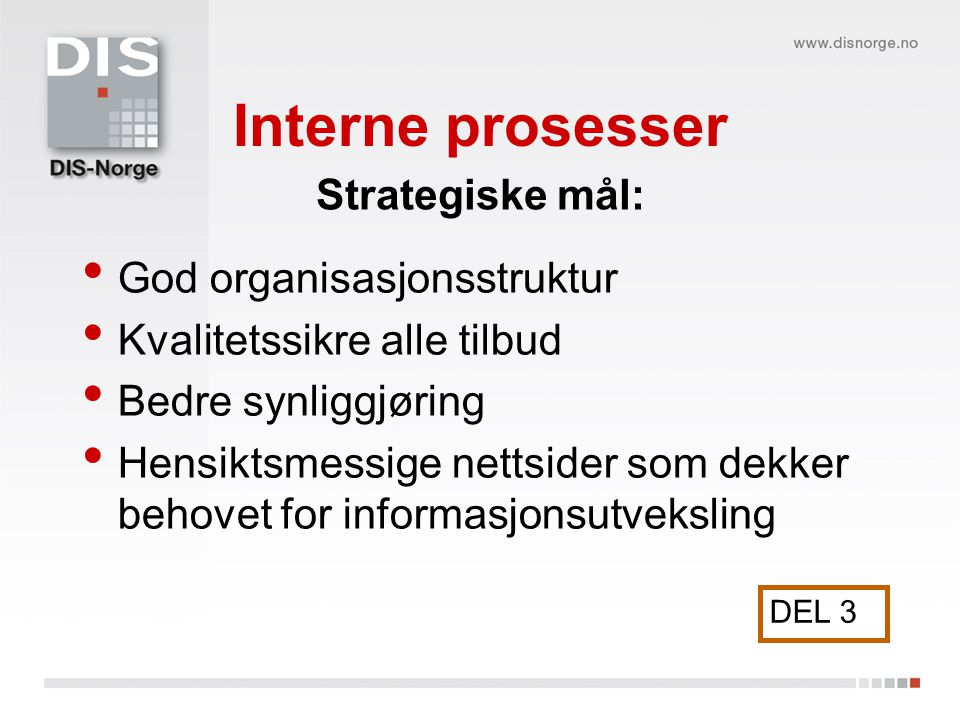 Interne prosesser God organisasjonsstruktur Kvalitetssikre alle tilbud Bedre synliggjøring Hensiktsmessige nettsider som dekker behovet for informasjo
