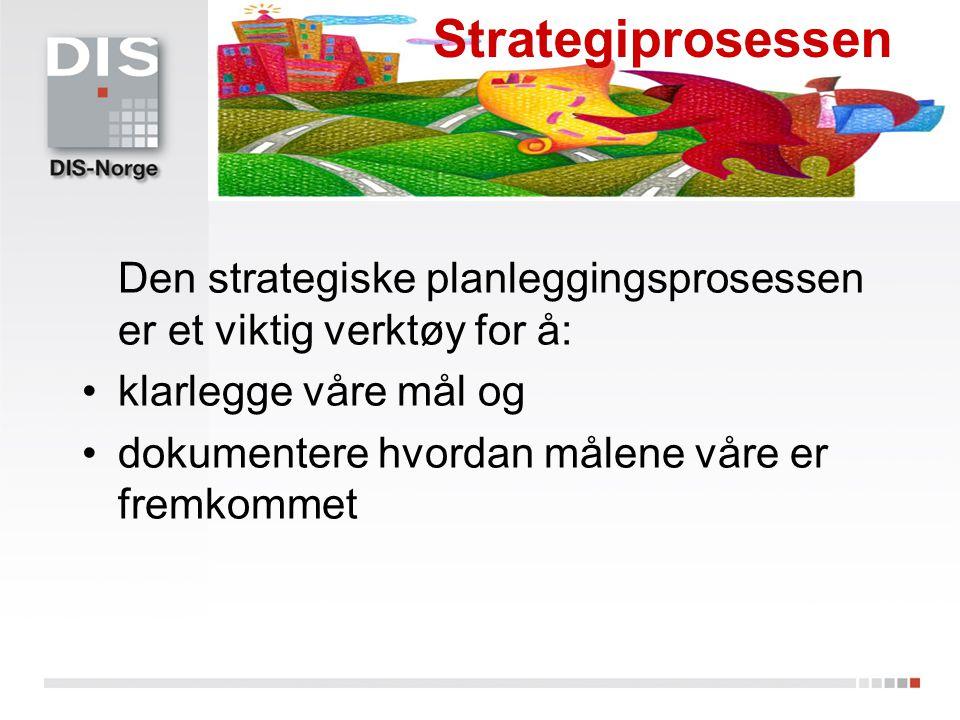 Den strategiske planleggingsprosessen er et viktig verktøy for å: klarlegge våre mål og dokumentere hvordan målene våre er fremkommet Strategiprosesse