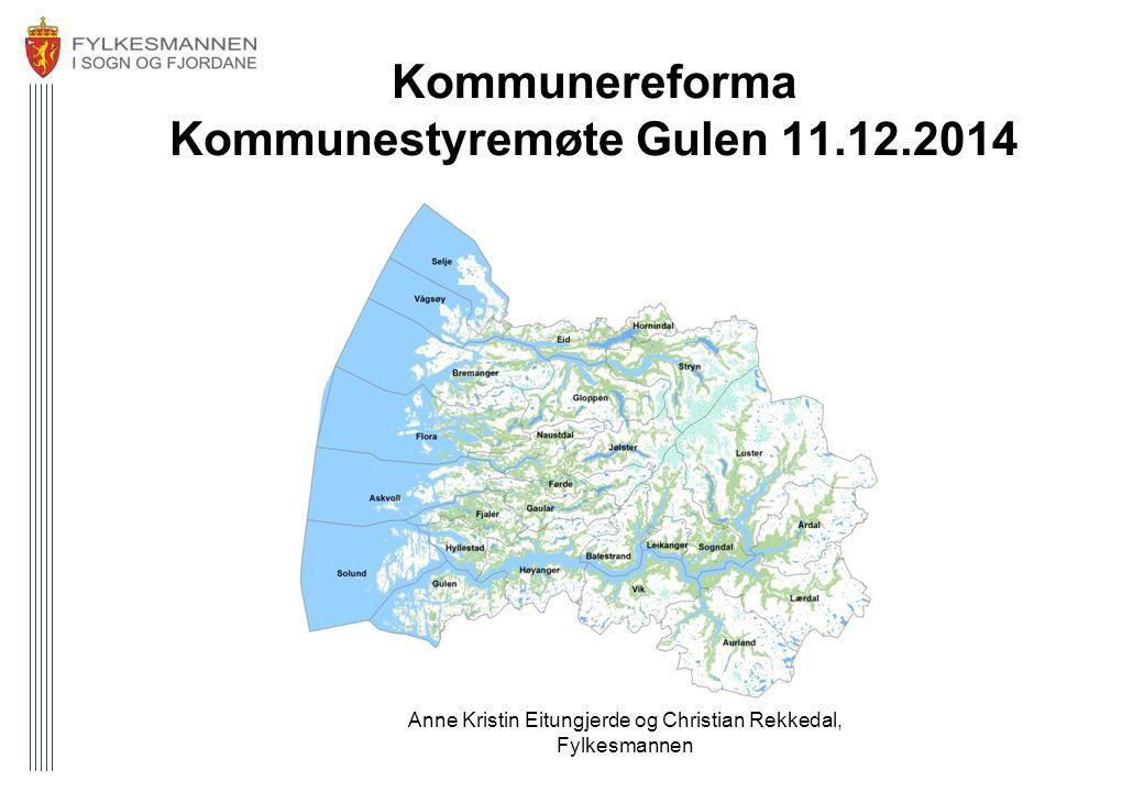 Kommunereforma Kommunestyremøte Gulen 11.12.2014 Anne Kristin Eitungjerde og Christian Rekkedal, Fylkesmannen