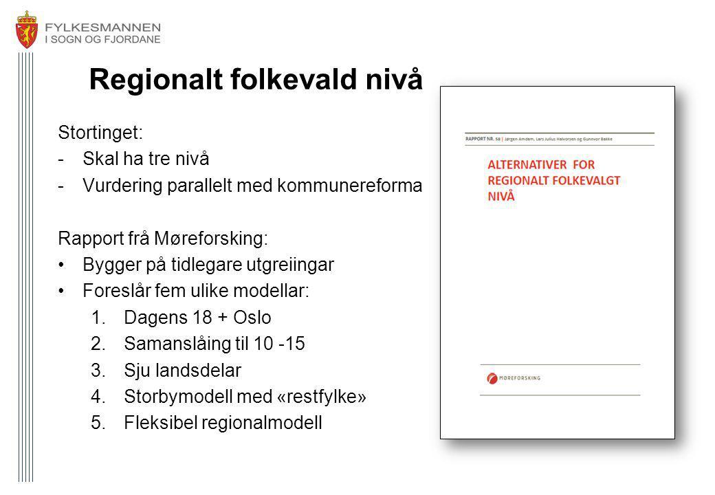 Regionalt folkevald nivå Stortinget: -Skal ha tre nivå -Vurdering parallelt med kommunereforma Rapport frå Møreforsking: Bygger på tidlegare utgreiing