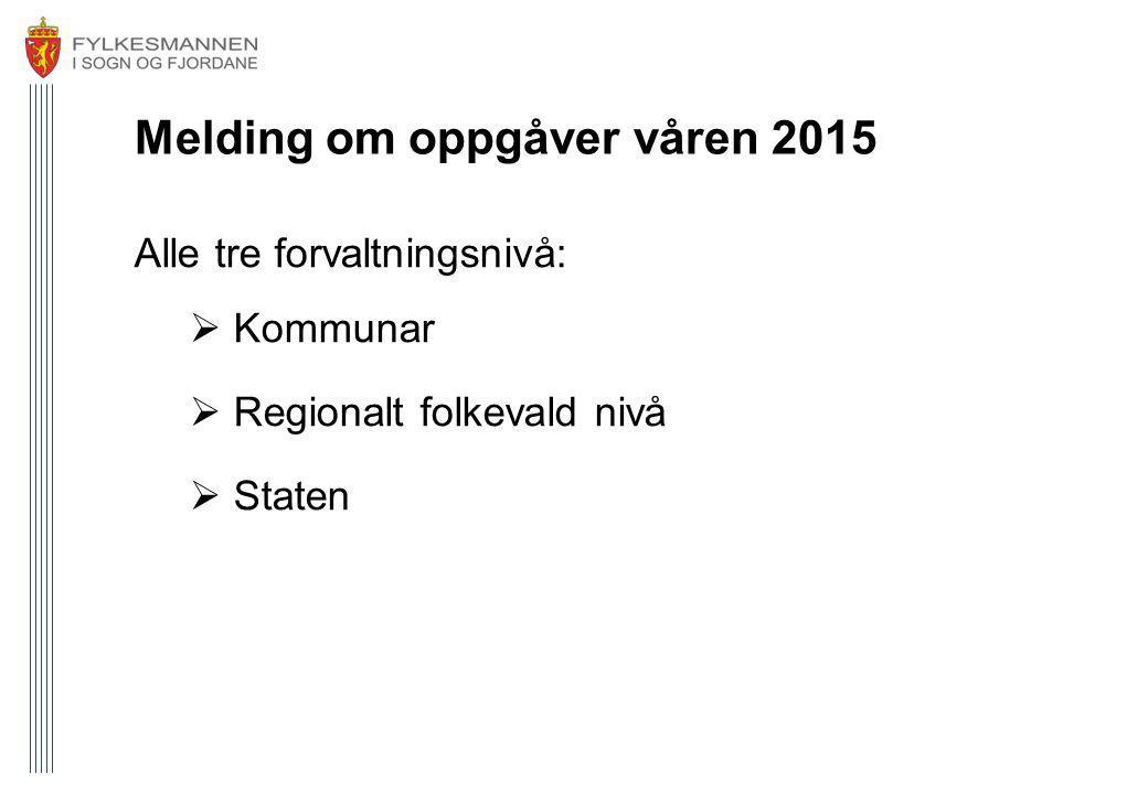 Melding om oppgåver våren 2015 Alle tre forvaltningsnivå:  Kommunar  Regionalt folkevald nivå  Staten