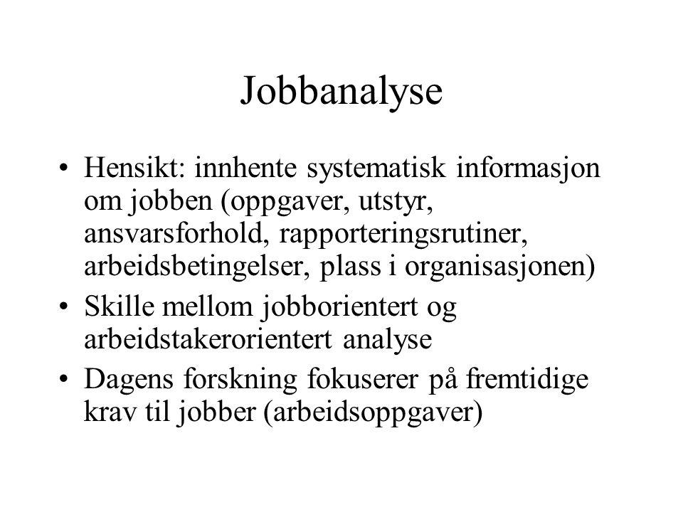 Jobbanalyse Hensikt: innhente systematisk informasjon om jobben (oppgaver, utstyr, ansvarsforhold, rapporteringsrutiner, arbeidsbetingelser, plass i o