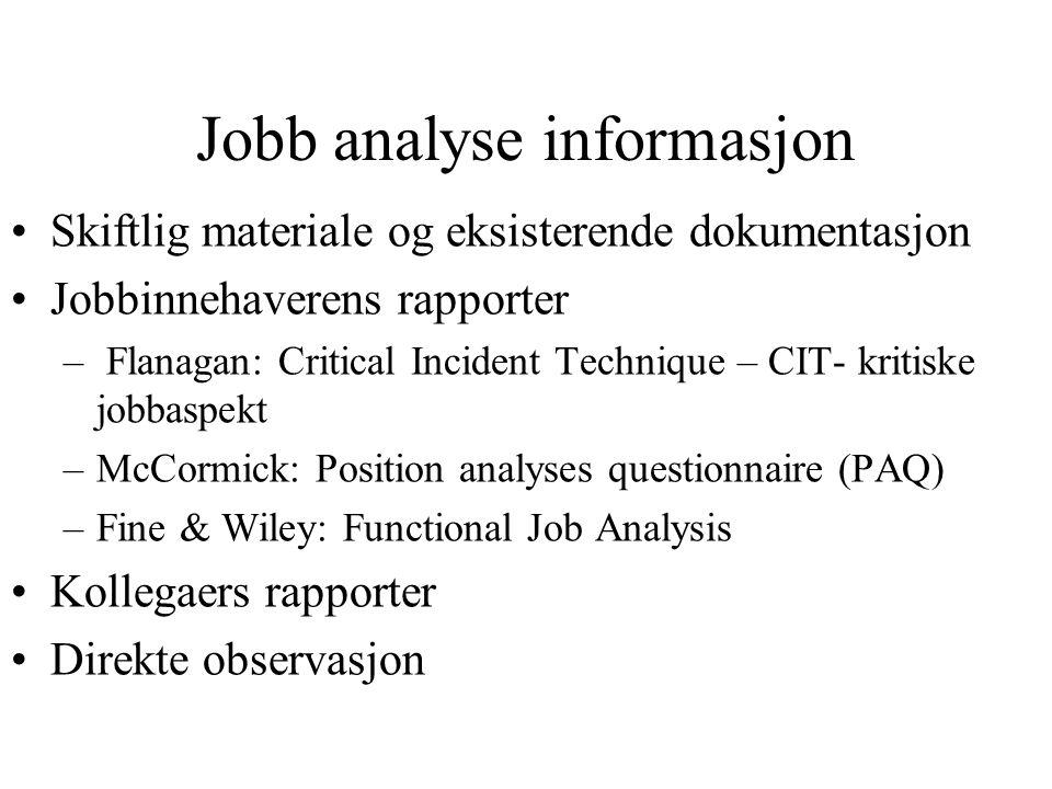 Jobb analyse informasjon Skiftlig materiale og eksisterende dokumentasjon Jobbinnehaverens rapporter – Flanagan: Critical Incident Technique – CIT- kr