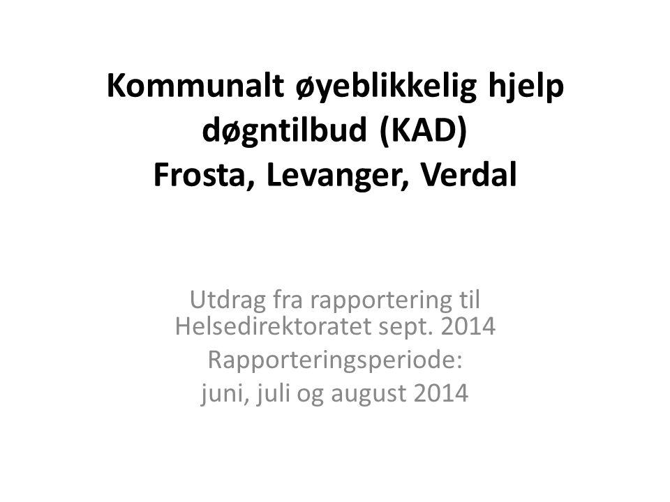 Kommunalt øyeblikkelig hjelp døgntilbud (KAD) Frosta, Levanger, Verdal Utdrag fra rapportering til Helsedirektoratet sept. 2014 Rapporteringsperiode: