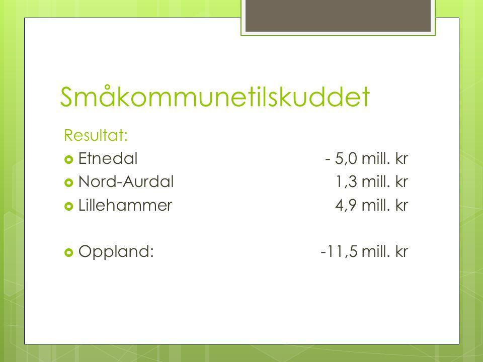 Småkommunetilskuddet Resultat:  Etnedal- 5,0 mill. kr  Nord-Aurdal1,3 mill. kr  Lillehammer4,9 mill. kr  Oppland:-11,5 mill. kr