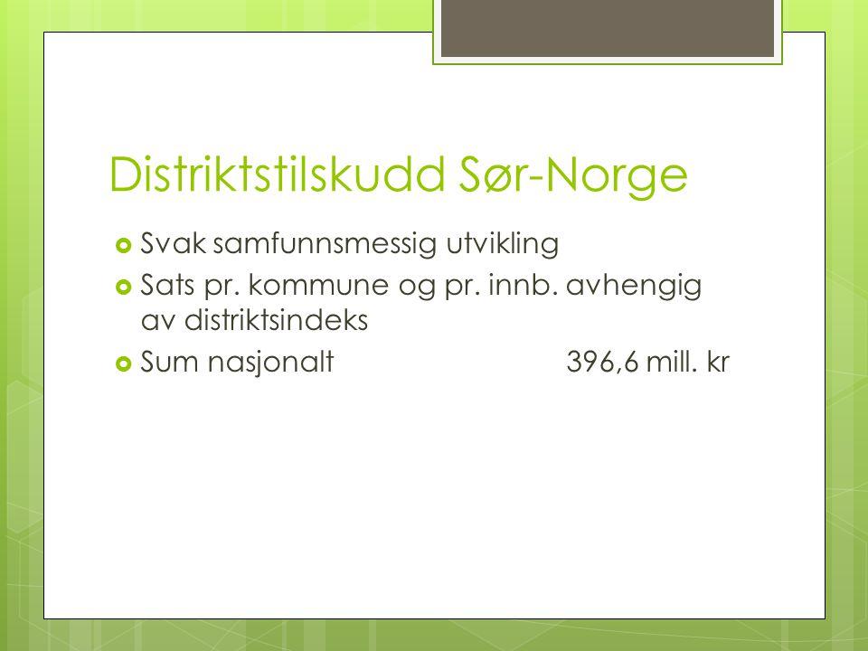 Distriktstilskudd Sør-Norge  Svak samfunnsmessig utvikling  Sats pr. kommune og pr. innb. avhengig av distriktsindeks  Sum nasjonalt396,6 mill. kr