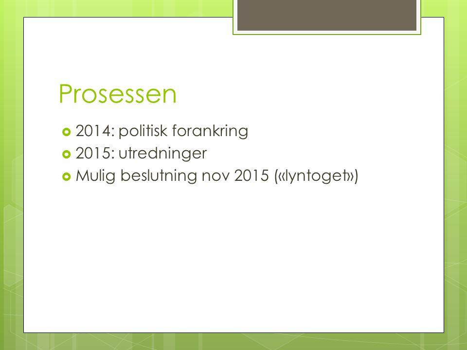 Prosessen  2014: politisk forankring  2015: utredninger  Mulig beslutning nov 2015 («lyntoget»)