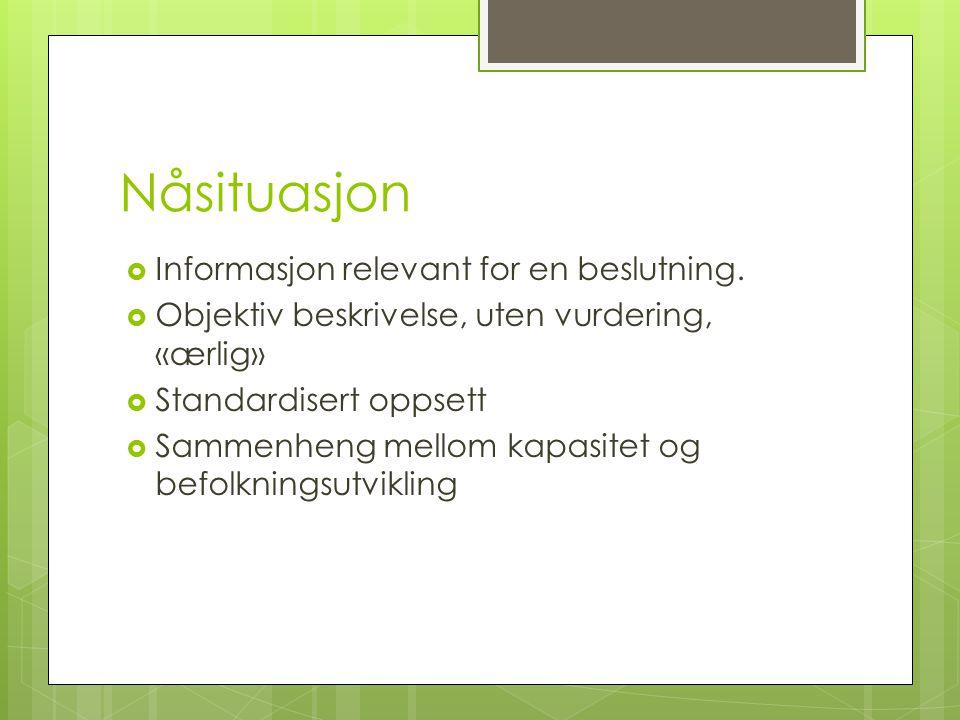 Nåsituasjon  Informasjon relevant for en beslutning.  Objektiv beskrivelse, uten vurdering, «ærlig»  Standardisert oppsett  Sammenheng mellom kapa