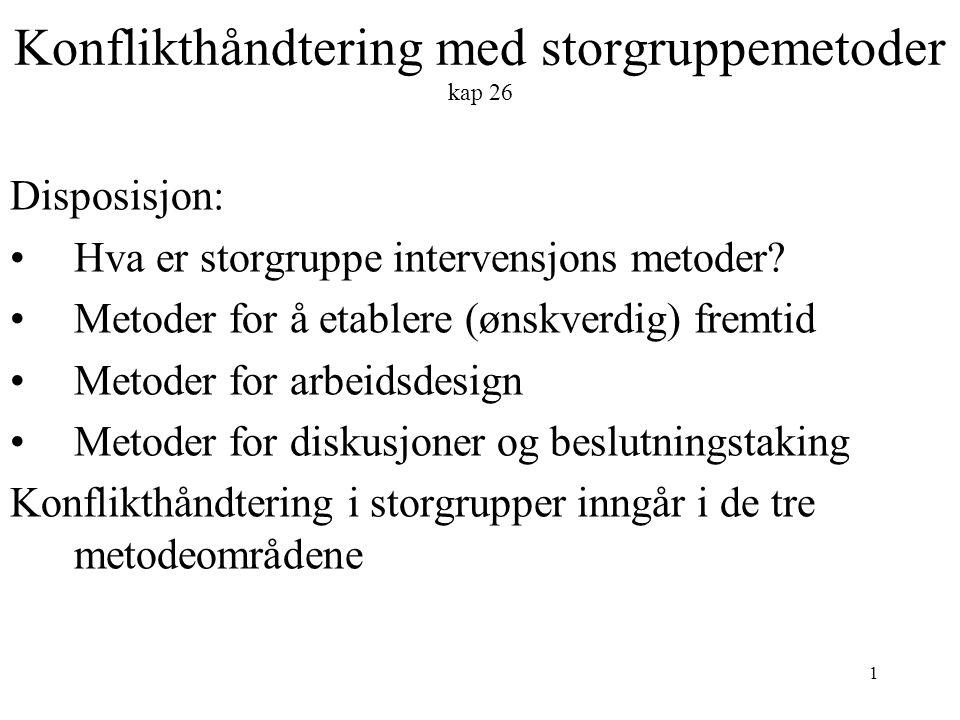 1 Konflikthåndtering med storgruppemetoder kap 26 Disposisjon: Hva er storgruppe intervensjons metoder.