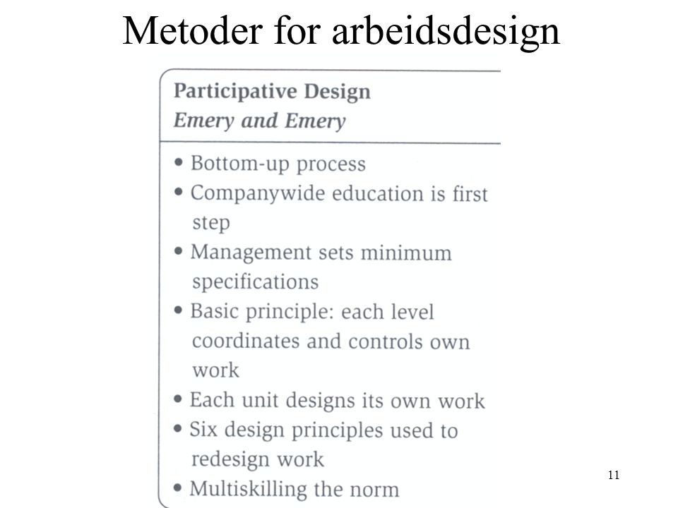 11 Metoder for arbeidsdesign
