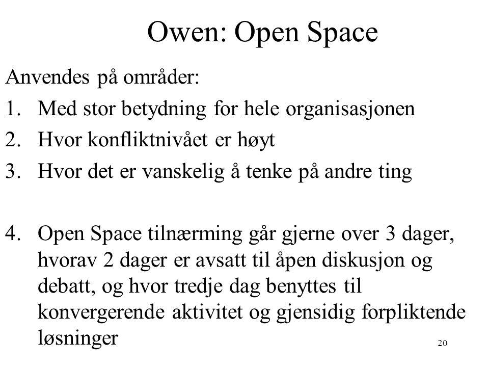 20 Owen: Open Space Anvendes på områder: 1.Med stor betydning for hele organisasjonen 2.Hvor konfliktnivået er høyt 3.Hvor det er vanskelig å tenke på andre ting 4.Open Space tilnærming går gjerne over 3 dager, hvorav 2 dager er avsatt til åpen diskusjon og debatt, og hvor tredje dag benyttes til konvergerende aktivitet og gjensidig forpliktende løsninger