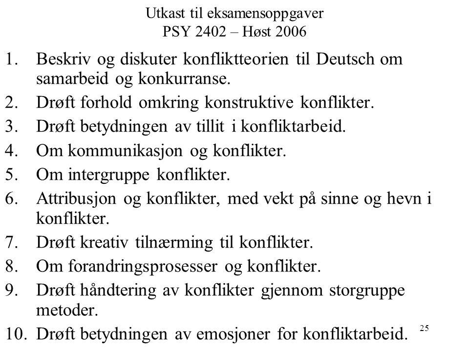 25 Utkast til eksamensoppgaver PSY 2402 – Høst 2006 1.Beskriv og diskuter konfliktteorien til Deutsch om samarbeid og konkurranse.