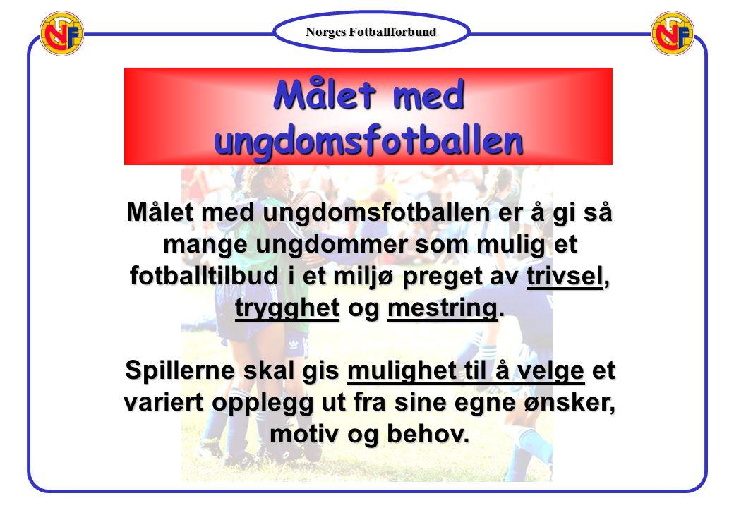 Norges Fotballforbund Målet med ungdomsfotballen Målet med ungdomsfotballen er å gi så mange ungdommer som mulig et fotballtilbud i et miljø preget av