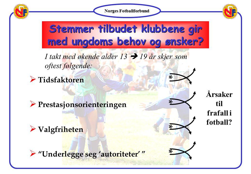 """Norges Fotballforbund  Tidsfaktoren *  Prestasjonsorienteringen *  Valgfriheten *  """"Underlegge seg 'autoriteter' """" * Stemmer tilbudet klubbene gir"""