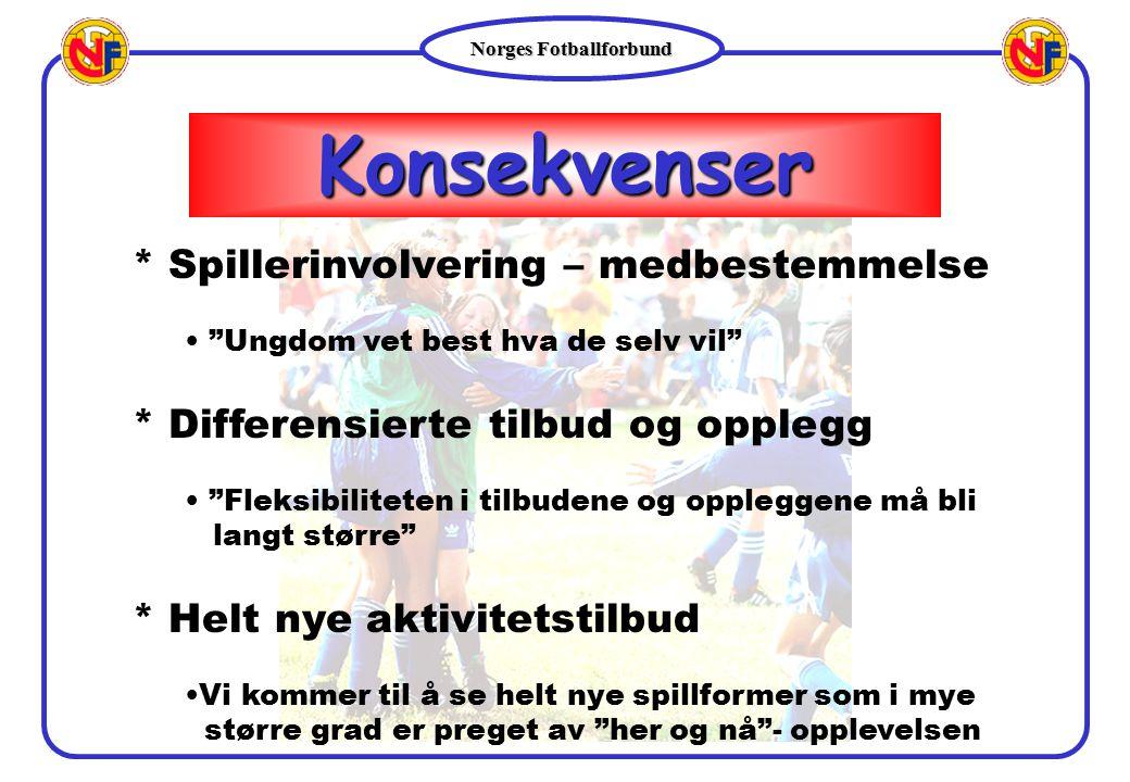 """Norges Fotballforbund Konsekvenser * Spillerinvolvering – medbestemmelse """"Ungdom vet best hva de selv vil"""" * Differensierte tilbud og opplegg """"Fleksib"""