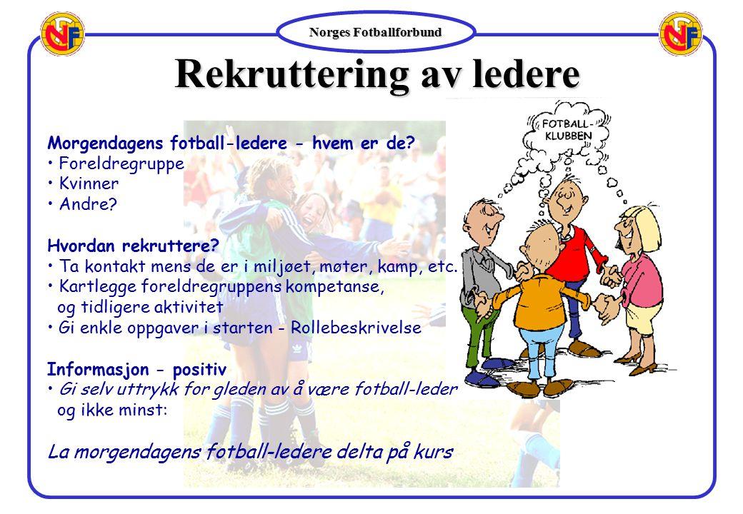 Norges Fotballforbund Rekruttering av ledere Morgendagens fotball-ledere - hvem er de? Foreldregruppe Kvinner Andre? Hvordan rekruttere? Ta kontakt me