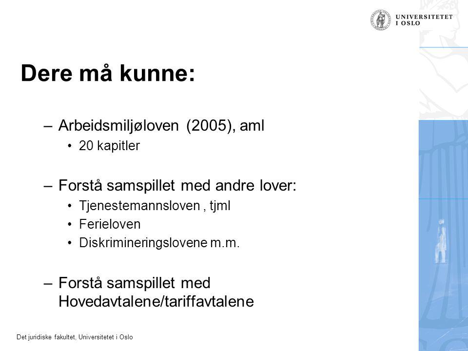 Det juridiske fakultet, Universitetet i Oslo Dere må kunne: –Arbeidsmiljøloven (2005), aml 20 kapitler –Forstå samspillet med andre lover: Tjenestemannsloven, tjml Ferieloven Diskrimineringslovene m.m.