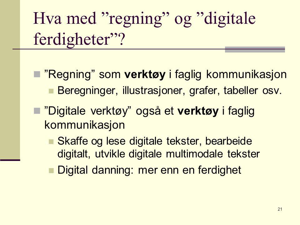 """21 Hva med """"regning"""" og """"digitale ferdigheter""""? """"Regning"""" som verktøy i faglig kommunikasjon Beregninger, illustrasjoner, grafer, tabeller osv. """"Digit"""