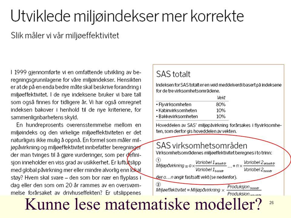 26 Kunne lese matematiske modeller?