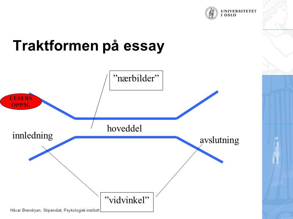 """Håvar Brendryen, Stipendiat, Psykologisk institutt Traktformen på essay """"vidvinkel"""" innledning hoveddel avslutning """"nærbilder"""" LESERS OPPM."""