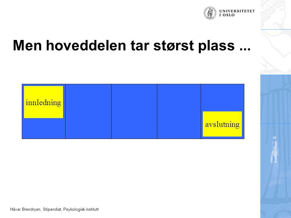 Håvar Brendryen, Stipendiat, Psykologisk institutt Men hoveddelen tar størst plass... innledning avslutning