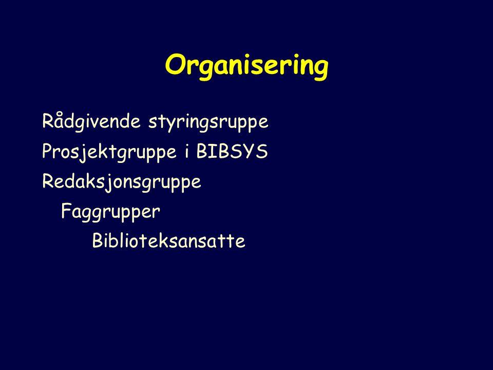 Organisering Rådgivende styringsruppe Prosjektgruppe i BIBSYS Redaksjonsgruppe Faggrupper Biblioteksansatte