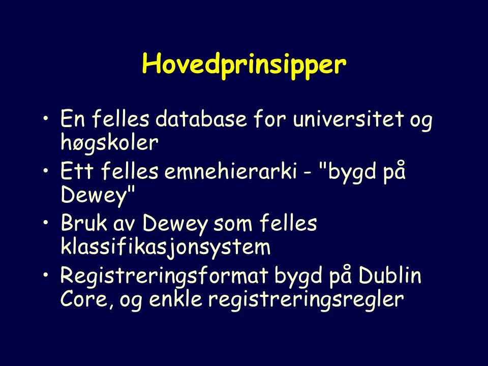Hovedprinsipper En felles database for universitet og høgskoler Ett felles emnehierarki - bygd på Dewey Bruk av Dewey som felles klassifikasjonsystem Registreringsformat bygd på Dublin Core, og enkle registreringsregler
