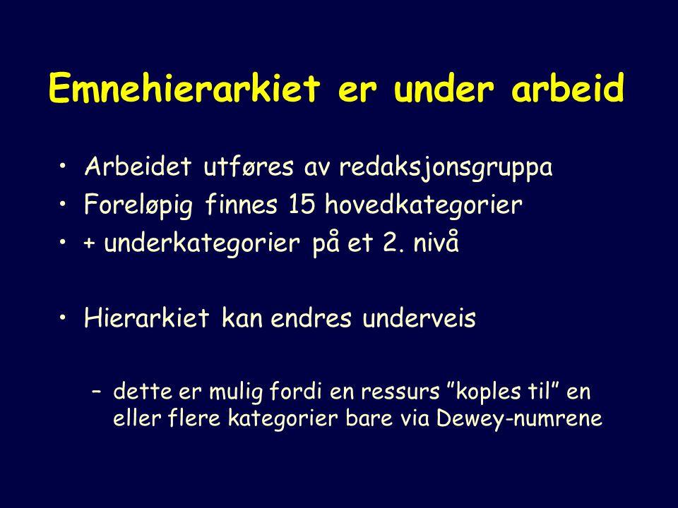 Emnehierarkiet er under arbeid Arbeidet utføres av redaksjonsgruppa Foreløpig finnes 15 hovedkategorier + underkategorier på et 2.