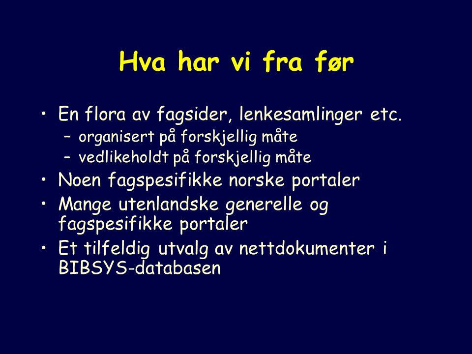 Noen emneportaler BUBL Link DutchESS Internet Pointer Guide Yggdrasil AHDS ADAM Kuopio University Virtual Library OMNI OWL MathGuide Biz/ed Juridisk nettviser SOSIG RUDI EELS EEVL Novagate