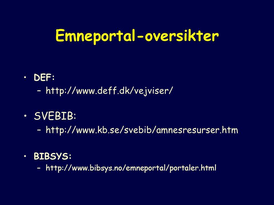 Emneportal-oversikter DEF: –http://www.deff.dk/vejviser/ SVEBIB: –http://www.kb.se/svebib/amnesresurser.htm BIBSYS: –http://www.bibsys.no/emneportal/portaler.html