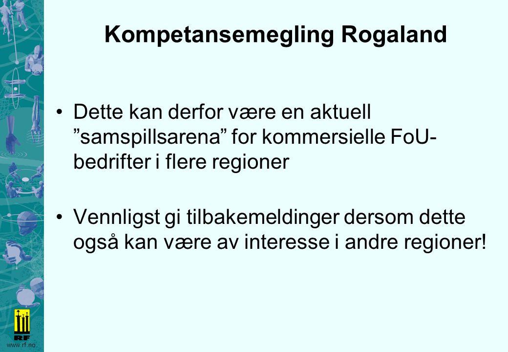 """www.rf.no Kompetansemegling Rogaland Dette kan derfor være en aktuell """"samspillsarena"""" for kommersielle FoU- bedrifter i flere regioner Vennligst gi t"""