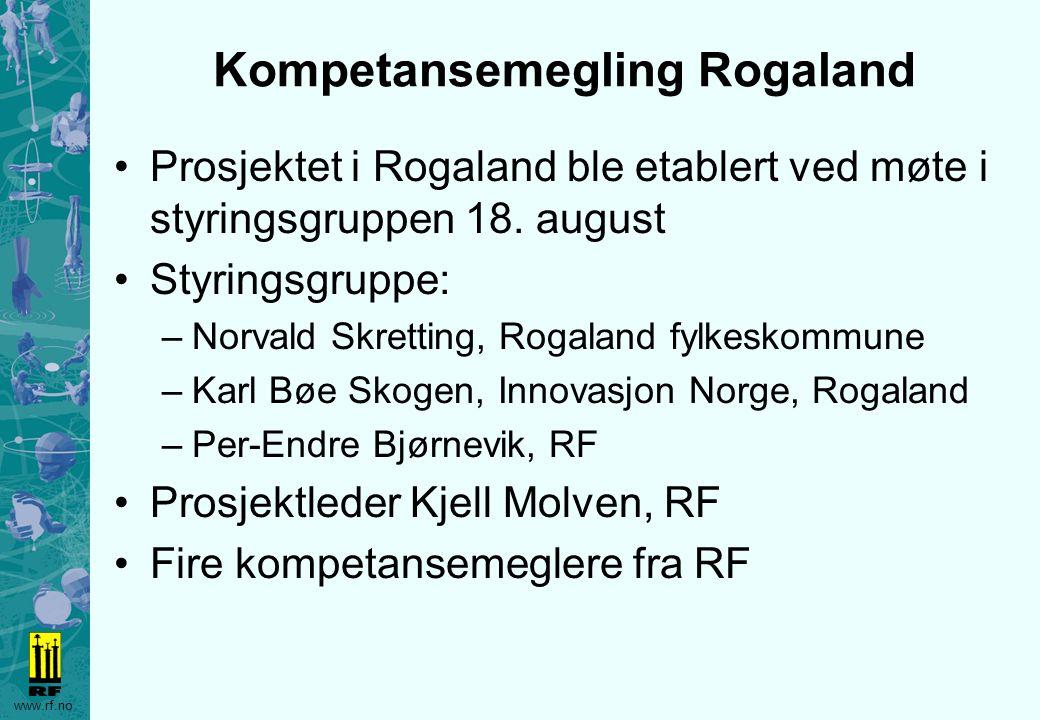 www.rf.no Kompetansemegling Rogaland Prosjektet i Rogaland ble etablert ved møte i styringsgruppen 18. august Styringsgruppe: –Norvald Skretting, Roga