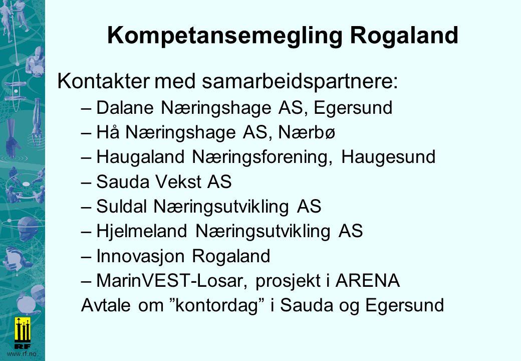www.rf.no Kompetansemegling Rogaland Kontakter med samarbeidspartnere: –Dalane Næringshage AS, Egersund –Hå Næringshage AS, Nærbø –Haugaland Næringsfo