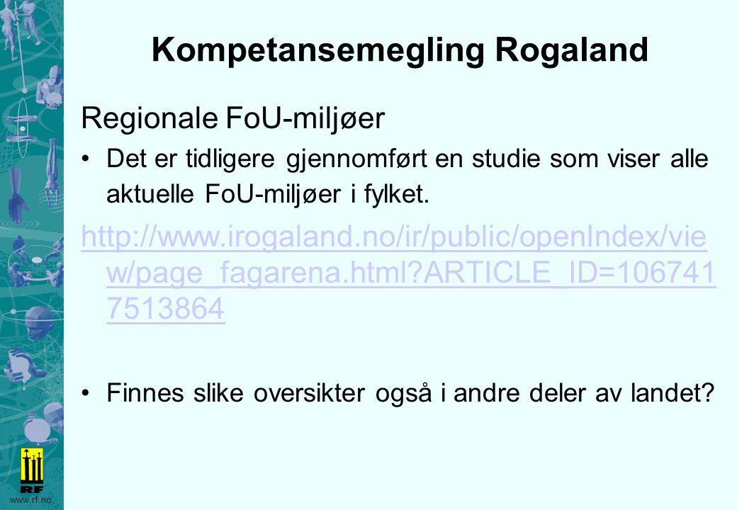 www.rf.no Kompetansemegling Rogaland Regionale FoU-miljøer Det er tidligere gjennomført en studie som viser alle aktuelle FoU-miljøer i fylket. http:/