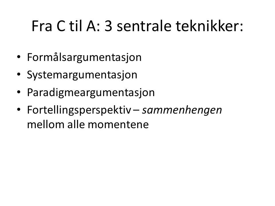 Fra C til A: 3 sentrale teknikker: Formålsargumentasjon Systemargumentasjon Paradigmeargumentasjon Fortellingsperspektiv – sammenhengen mellom alle mo