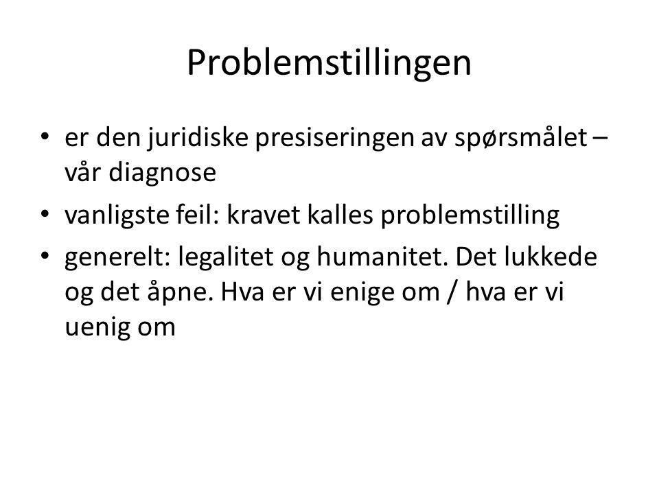 Problemstillingen er den juridiske presiseringen av spørsmålet – vår diagnose vanligste feil: kravet kalles problemstilling generelt: legalitet og hum
