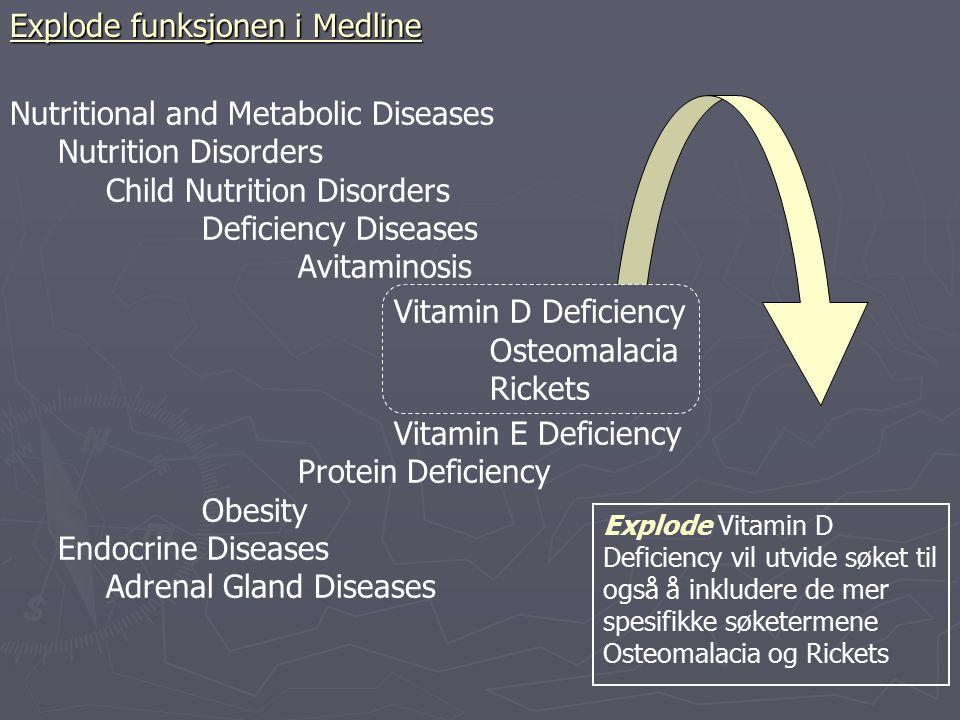 Explode Vitamin D Deficiency vil utvide søket til også å inkludere de mer spesifikke søketermene Osteomalacia og Rickets Nutritional and Metabolic Dis